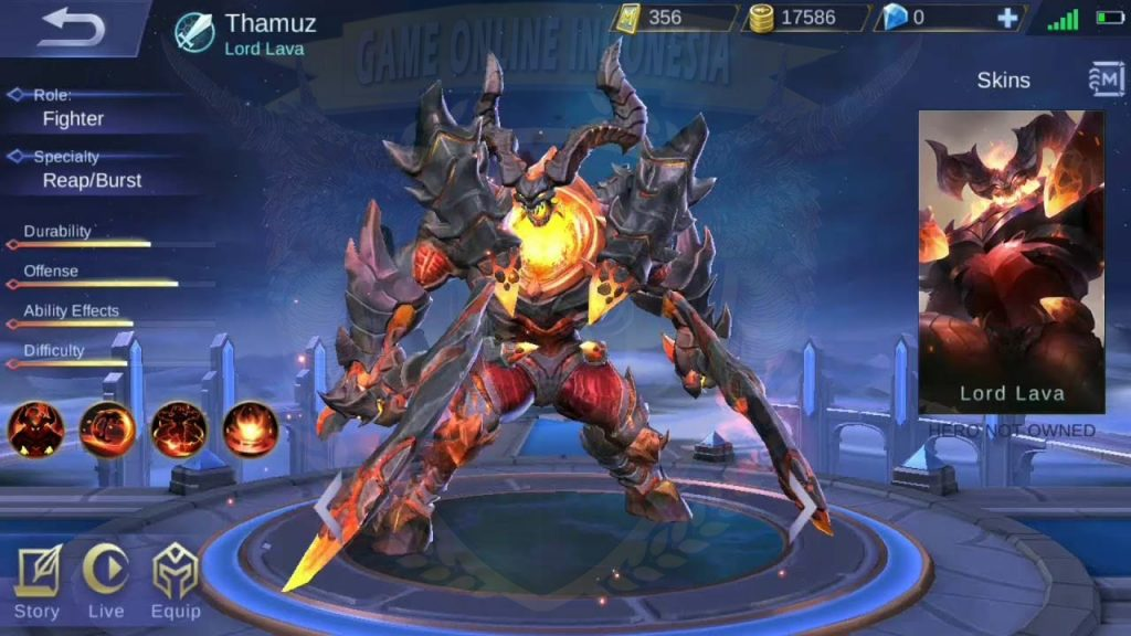 Detail Skill Thamus, Hero Fighter Mobile Legends
